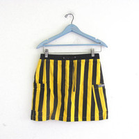 Vintage Mini Skirt // striped black and yellow skirt / referee skirt / size 6