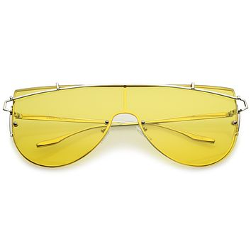 Retro Modern Flat Top Shield Sunglasses A908