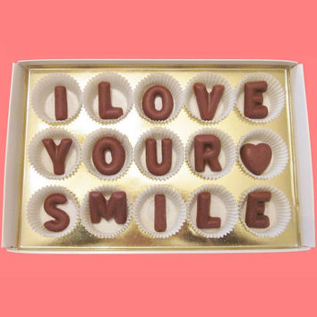 Valentines Day Gift for Men Him Women Her, I Love Your Smile Large Milk Chocolate Letters, Made to Order