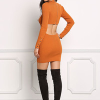 Orange Back Cut Out Ribbed Knit Bodycon Dress