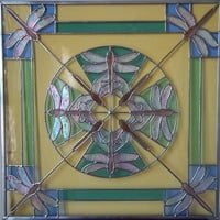 DRAGONFLY KALEIDOSCOPE Stained Glass Panel in German Antique Glass with Iridescent Wings