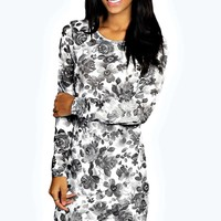 Wilma Floral Printed Asymetric Bodycon Dress