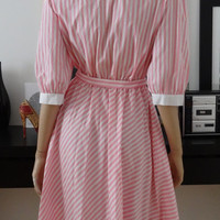 Robe vintage rose/blanc rayures taille 42/preppy/lindy hop bop/candy stripes 50's size uk 14 / us 10