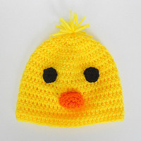 Baby Chick Hat Infant Girl Yellow Cap Boy Spring Beanie Bright Orange Beak Children Easter Clothing 3 - 6 Months Old  Summer Chicken Duck