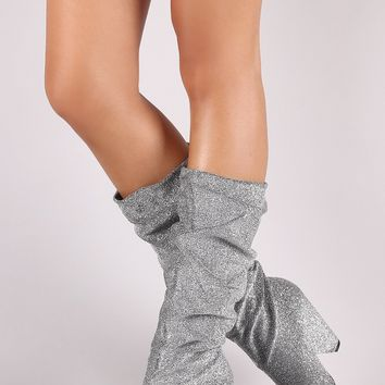 Foil Metallic Slouchy Western Knee High Boots