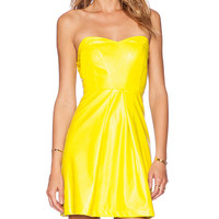 Ladakh Sweetheart Leatherette Dress in Lemon
