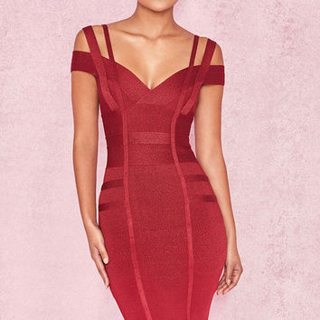 Clothing : Bandage Dresses : 'Mimi' Wine Off Shoulder Lurex Bandage Dress