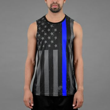 Tactical Thin Blue Line USA Flag Quick-Dry Jersey