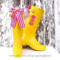 Lilly Pulitzer Inspired, Pineapple, Monogram, Rain Boots, Bows