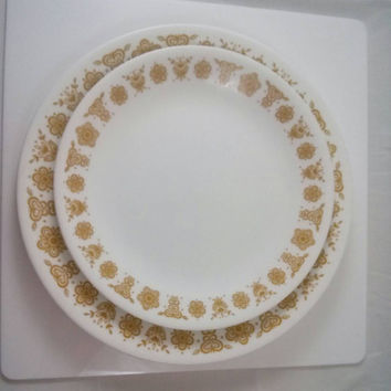 Butterfly Gold Pyrex Pattern Correlle Dinner & Luncheon Plate ( 2 ) Piece Setting