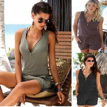 2017 Summer Casual Fashion Clothing Women's Jumpsuits with V-neck Zipper Sleevele Beach Slim Solid Color Romper S-XL ZL3001