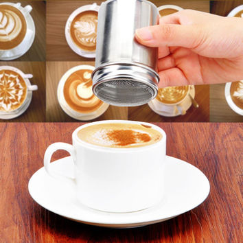 Stainless Steel Chocolate Shaker Cocoa Flour Salt Icing Sugar Powder Coffee Sifter Lid Shaker Kitchen Cooking Tools