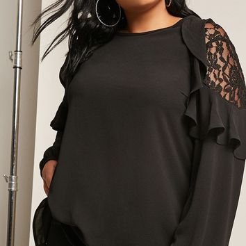 Plus Size Lace Ruffle Top