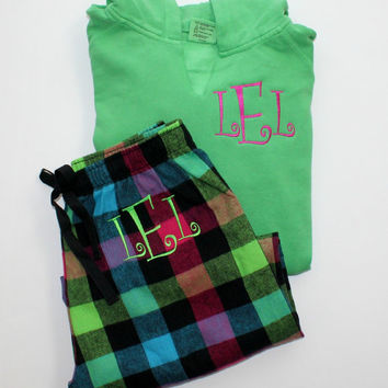 Monogram Pajama Set Neon Plaid Flannel Pants with Comfort Color Neon Green Hoodie Christmas Gift Set