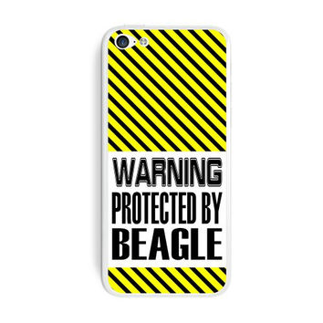 Graphics and More Warning Protected By Beagle Protective Skin Sticker Case for Apple iPhone 5C - Set of 2 - Non-Retail Packaging - Opaque