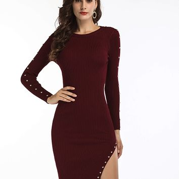 Burgundy Stud Detail Long Sleeve Side Split Knitted Bodycon Dress