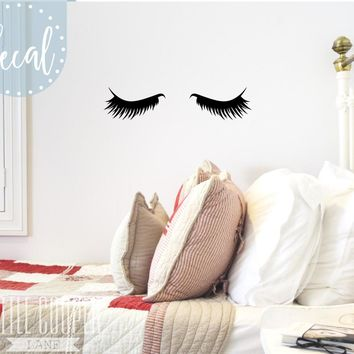 Sleepy Eyes Vinyl Wall Decal Sticker Closed Eyes Kids Decor Eyelashes  Baby Boys or Girls Nursery OR Kids wall sticker T170208