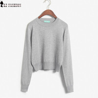 Womens Long Sleeves Cropped Knitted Sweater O Neck Thin Pullover Knitwear Jumper Color Wine Red Blue Womens Clothing C6O1721R