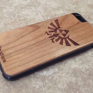 Wooden iPhone Cases - zelda triforce - triforce iphone case - iPhone 6 - 4/4s, 5/5s and iPhone 6 - precision engraved design - FREE SHIPPING