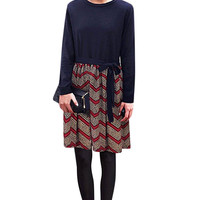 Knit Plus Size Knotted Long Sleeve Zigzag Dress In Dark Blue