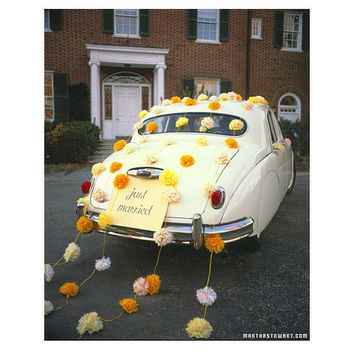 Tissue Paper Pom Garland Wedding Car Decorating Kit: choose your colors