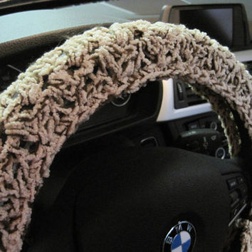 Extra Soft Crochet Steering Wheel Cover, Wheel Cozy - oatmeal/brown (CSWC 6)