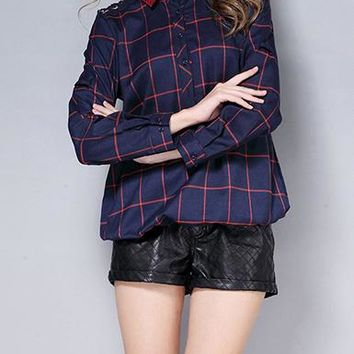 Womens Flannel Shirt - Scalloped Lace / Solid Collar