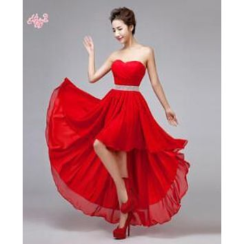 Fashion High Quality New Sweetheart Knee Length Chiffon Bridesmaid Dresses 2017 Long Back Short Front Party Gown Vestidos Party