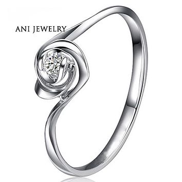 ANI 18K White Gold (AU750) Women Wedding Ring 0.1 CT Certified I/SI Solitaire Round Cut Natural Diamond Twist Rose Shape Rings