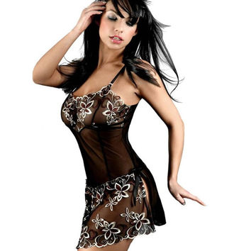 Lingerie Sexy Women  Lingerie Ladies Black Women Underwear Sleepwear, Nightgown + G String, Plus Size Lingerie S-6XL BL