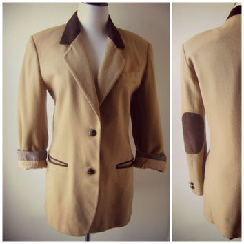 tan elbow patch equestrian blazer vintage 90s ladies dress coat suede collar size 7/8 small medium preppy hipster wool blend fitted boho