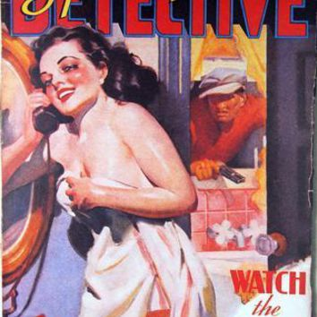 Pulp Fiction Art Spicy Detective Lady Metal Print 8in x 12in