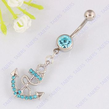 VONE7HQ OPAL FERRIE - Anchor Belly button ring navel jewelry 14G 316L surgical steel bar Nickel-free