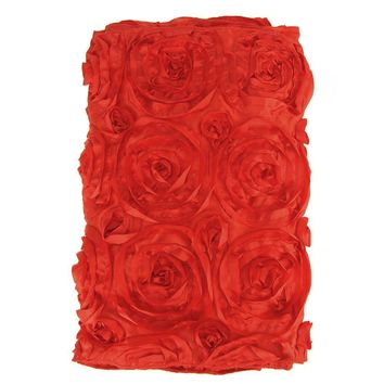 Satin Rosette Table Runner with Serged Edge, Red, 14-Inch x 108-Inch