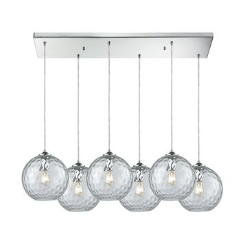Watersphere 6 Light Rectangle Fixture In Polished Chrome With Clear Hammered Glass
