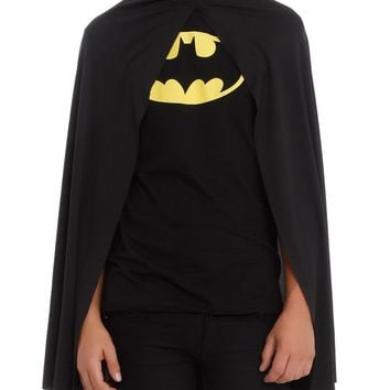 "Licensed cool ADULT LONG 36"" BLACK CAPE BATMAN Super Hero for Halloween Costume Cosplay NEW"