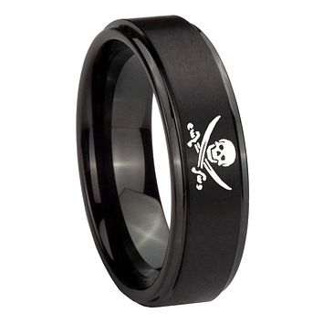 10MM Step Edges Skull Pirate Black IP Tungsten Carbide Men's Ring