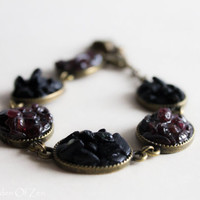 Burgundy Bracelet black antique Garnet and Tourmaline bracelet