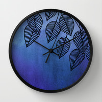 Midnight Blue Garden - watercolor & ink leaves Wall Clock by micklyn