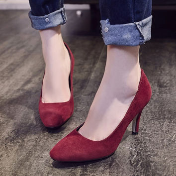 Korean Leather Square Toe High Heel Shoes [4919908420]