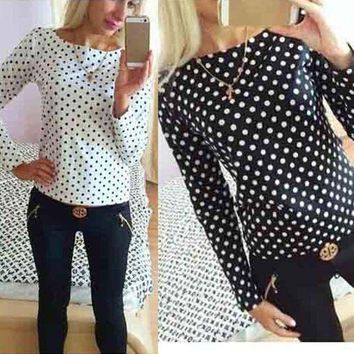 Women Long Sleeves Shirt Casual Chiffon Blouse Loose Long Sleeves Polka Dot Tops Shirt Blouse