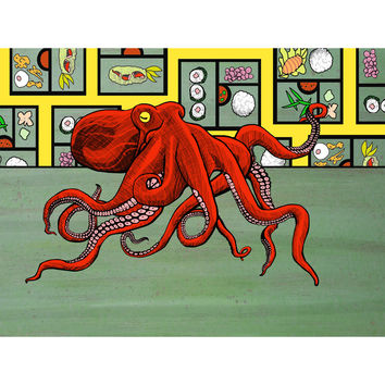 Bento - Red Octopus Bento Box Color Print on Wood
