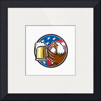 """Bald Eagle Hoisting Beer Stein USA Flag Circle Ret"" by Aloysius Patrimonio"