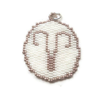 Aries Beaded Charm Pendant Seed Bead Charm