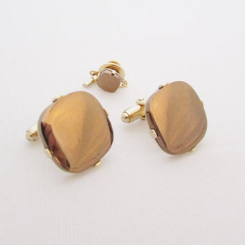 Brown Cufflinks Vintage Cuff Links Tie Tack Set Mirror Glass Men's Jewelry Gifts for Him Dad Retro Modern Style