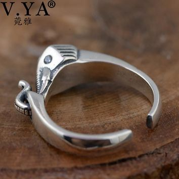 V.YA Vintage Style Elephant Rings For Women Lady Real Pure 925 Sterling Silver CZ Crystal Animal Open Ring Jewelry