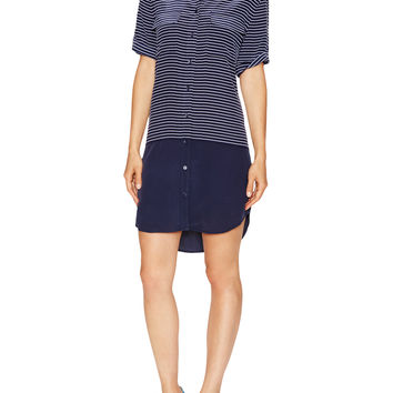 EQUIPMENT Women's Silk Slim Signature Dress with Contrast Hem - Blue
