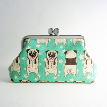 Frame Purse/ Card Case- Pug in Aqua