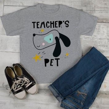 Kids Cute Teacher's Pet T Shirt Adorable Dog Graphic Tee Boy's Girls Back To School Shirts