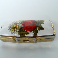 Sectional Pill Box, Cloisonne Lid & Plastic Pill Separator, Tight Catch Hinged Lid w Red White Peonies and Deep Green Foliage Made in Japan